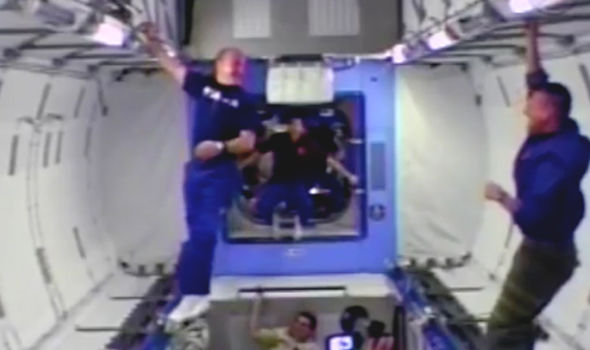 Astronaut gets stuck in mid-air