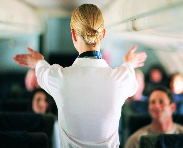 Air hostess on a plane