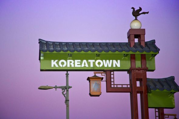 Sign for Korea Town, Los Angeles, USA