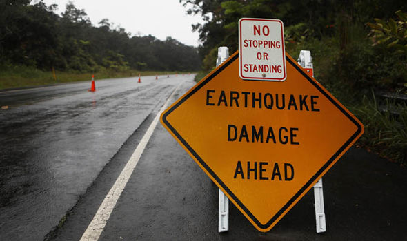 Hawaii volcano eruption: Evacuation sign