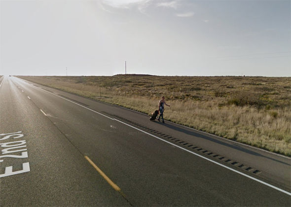 google maps street view roswell walking woman