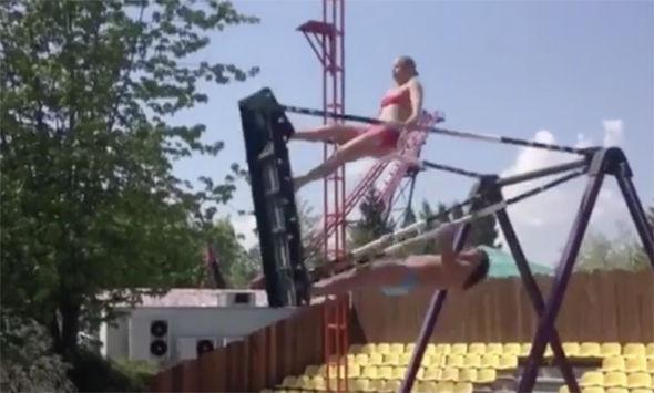 Viral video bikini babe dive