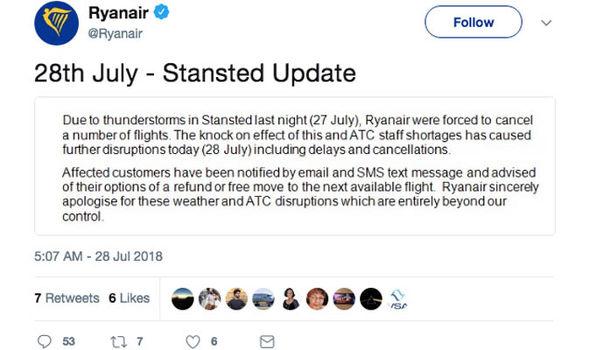 Stansted Airport chaos: Ryanair tweet